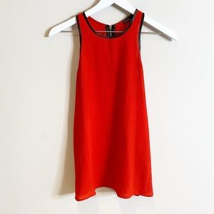 Love Culture Red Crepe Black Leather Tunic Top